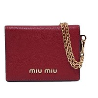 Miu Miu Fuoco Red Leather Credit Card Holder Wallet Madras Chain