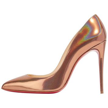 Christian Louboutin New Copper Leather Pigalle Follie High Heels Pumps in Box