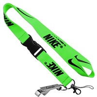 Nike Neon Green Cell Phone Keychain Lanyard Keys ID MP3 Holder Neck Straps with LOCALS Bottle Opener