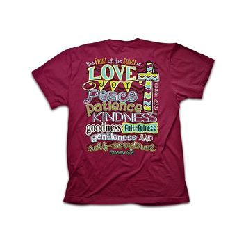 SALE Cherished Girl Fruit of the Spirit Chevron Cross Christian Girlie Bright T Shirt