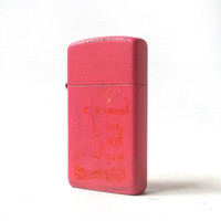vintage 1990's zippo lighter petite small hot pink smoking cigarettes cigar retro modern metal mens womens collectible matte colorful
