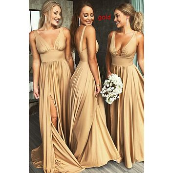 Sexy Gold Bridesmaid Dresses, Prom Dress High Slit, Prom Dresses long, Evening Dress, Formal Dress, Ball Gown CD0102