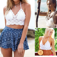Hot Women Sexy Crochet Unpadded Bralette Bralet Bra Bustier Tank Crop Top Blouse = 1956622468