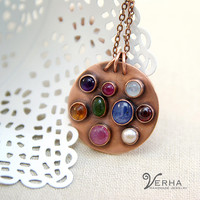 7th anniversary copper gifts - star sapphire pendant necklace - multicolored jewelry for her - amethyst jewellery - February birthstone