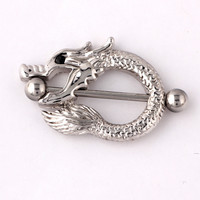 1Pair Surgical Steel Dragon Nipple Piercing Easter Nipple Rings Fashion 14G Shield Nipple Bar Sexy Ring Punk Body Jewellery