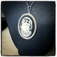 Three Muses Cameo Vintage Style Oval Necklace - Silver with Muses Cameo Pendant - Musical Muses