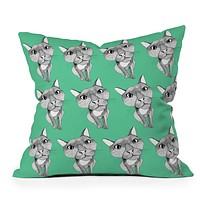 Casey Rogers Cat Repeat Throw Pillow