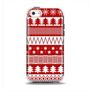The Red and White Christmas Pattern Apple iPhone 5c Otterbox Symmetry Case Skin Set