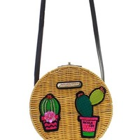 Straw Cactus Messenger Bag