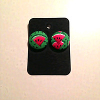 Watermelon Earrings • Fruit Earrings • Summer Fashion • Covered Button • Fabric Button • Cotton Watermelon • Gifts For Girls  Vintage Fabric