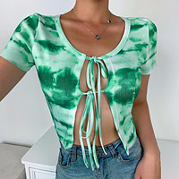 New lace tie-dye sexy cardigan top women's short-sleeved t-shirt green