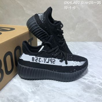 HCXX 19July 222 Adidas Yeezy Boost 350V2 Breathable Sneakers Kid Comfortable Running Shoes black