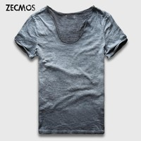 Zecmos Vintage Washed T-Shirt Men New Summer T Shirts Male Wide V Neck Slim Fit Top Tees Sexy Streetwear Tshirts Man Vneck