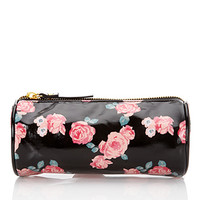 FOREVER 21 Rose Print Cosmetic Bag Black/Red One