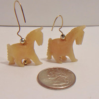 Vintage Carved Stone Horse Earrings Fetish Jewelry Fashion Accessories For Her Animal Lover