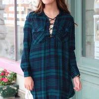 Laced Up in Plaid Tunic Dress {Green+Navy}