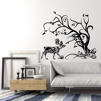 Vinyl Wall Decal Abstract Deer Forest Animal Tree Stickers (2189ig)