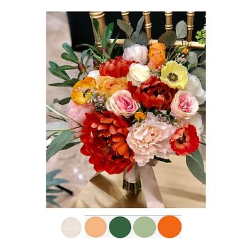 Summer Fall Wedding Bouquet - Orange Blush Pink Teal Yellow Peony, Poppy, and Rose Bouquet