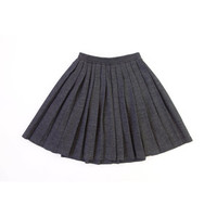 Vintage 1990s Grey Pleated Skirt Wool Knit Short Small