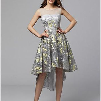 A-Line Illusion Neck Asymmetrical Metallic Lace High Low / See Through Prom Dress with Embroidery by TS Couture®