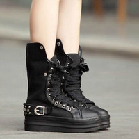 Punk Goth Fashion Ladies Spike Stud Platform Mid Calf Boot Lace Up Sneaker Shoes