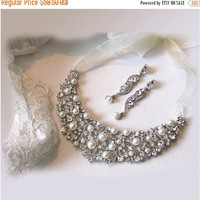 Bridal jewelry set , Bridal bib necklace earrings, vintage inspired pearl necklace, rhinestone bridal statement necklace