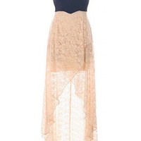Lace High Low Dress - Kely Clothing