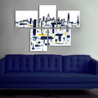 """Made to order. Original abstract painting. 5 piece canvas art. 29x41"""" Large painting of New York's skyline. Modern wall art."""