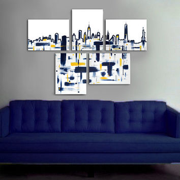 "Made to order. Original abstract painting. 5 piece canvas art. 29x41"" Large painting of New York's skyline. Modern wall art."