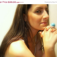 ON SALE 50% off - Crochet Ring, Turquoise, Handmade, Adjustable, Cotton Yarn, Silver, Round