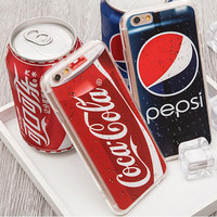 2016 New 3D Luxury Coke Pepsi Case Coque For iPhone 5s 5 6 6S plus case Drink Beer Bottles Cartoon Anti-knock Phone Cases Cover