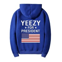 Yeezy For President Woman Fashion Print Flag Top Sweater Pullover Hoodie-1