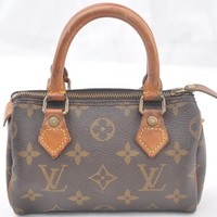 Authentic Louis Vuitton Monogram Mini Speedy Hand Bag M41534 LV 46425