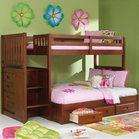 Merlot Staircase Twin Over Full Bunk Bed With 3 Storage Drawers