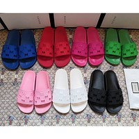 GUCCI Fashion Hot Sale Hollow Letter Casual Couple Slippers