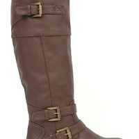 tall flat riding boot with multiple buckles
