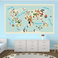 Modern , Urban and Contemporary - World Map Kids - Repositionable Adhesive Fabric - Wall Decals , Home WallArt Decals