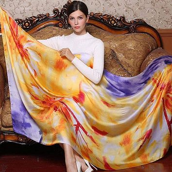Flowers Printing Silk Scarf For Women
