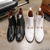 GUCCI Jordaan series loafers design short boots