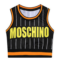 Black MOSCHINO Print Striped Cropped Top and Shorts