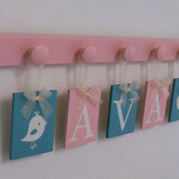 Bird Nursery Decor, Painted Bird, Light Pink / Teal Baby Girl Nursery, 5 Name Plaques Personalized for AVA with Birds Turquoise / Pink Gift