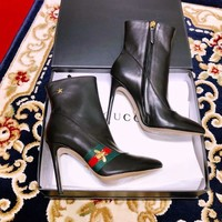 Gucci Leather Web Ankle Boot #1512