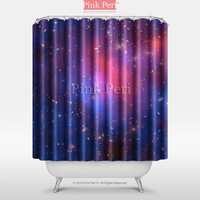 The Laser of Nebula Space Galaxy Shower Curtain Free shipping Handmade Custom Home & Living Bathroom 009
