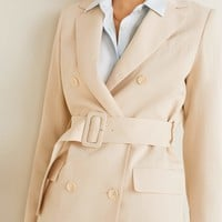 Belt structured blazer - Women | Mango USA