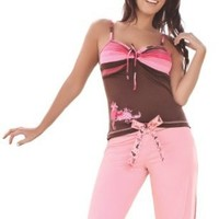 Laura Pink Brown Sexy Pajama Pant Set Stripes Tiff #SL506016