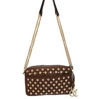 Rhinestone Studded Bling Messenger Satchel Bag Cross Body Chain Purse Brown