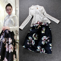 White Bow Neck Embelished Long Sleeve  Top Floral Printed Skirt