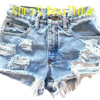 High Waisted Distressed/Frayed Shorts by SheaBoutique on Etsy
