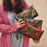 women bag handbags summer cotton clutch embroidered purse phone coin tassel small floral female bolsas casual wallet vintage