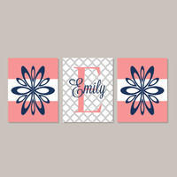 Teen Girl Wall Art Room Decor Floral Flower Coral Navy Monogram Name Initial Set of 3 Prints Or Canvas College Dorm Girl Decorations